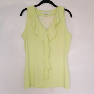 🌿Peter Nygard Ruffle Neckline Lace Back Top Sz. S
